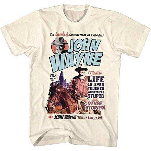 John Wayne - Mens Makeitwayne T-Shirt, Size: Medium, Color: Natural (John Wayne Size)