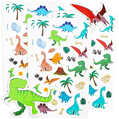Blue Panda 36-Sheets Small Dinosaur Stickers - 1008 Total Pieces for Kids, Scrapbooking, and Birthday Party Favors, 8.5 x 5 Inches -