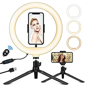 """Best Epic Trends 51gikEnCNYL._SS300_ 10"""" Ring Light with Tripod Stand & Phone Holder and Remote Control, LED Desk Ring Light with 3 Light Modes & 11 Brightness Level for Live Stream Makeup YouTube Video Facetime"""