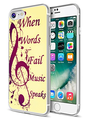 (for iPhone 7 Case Music,Ecute Soft Slim Flexible Rubber Side + Style Hard Back Case Compatible with iPhone 8(2016) and iPhone 7(2017) - Music Note with When Words Fail Music)