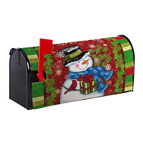 Evergreen Starry Night Snowman Nylon Magnetic Mailbox Cover for Standard Sized Mailboxes (Snowman Starry)