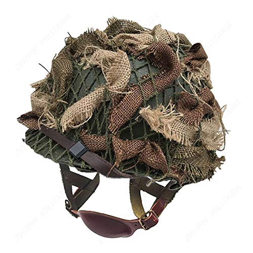 zwjpw-WW2 US Army Airborne m1c Helmet with Airborne Troops and Camouflage Net