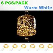 Pack of 6 Sets 7.2Ft(2.2m) 20 Leds Fairy String Lights with Batteries - Firefly Micro String Lights for DIY Wedding Centerpiece or Home Party Decorations (Warm White)