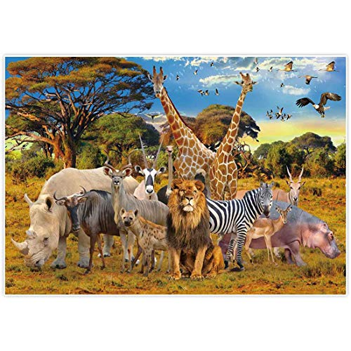 Allenjoy 7x5ft Jungle Animal Backdrop for Summer Tropical Desert African Forest Safari Scenic Party Photography Pictures Decoration Event Table Decor Banner Background Children Photo Booth Shoot