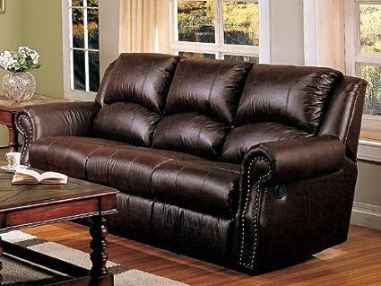 Amazon.com: Recliner Sofa Couch Nail Head Trim Dark Brown ...