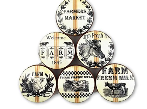 Set of 6 Farm Fresh Dairy Oversized Cabinet Knobs (Set 2) -