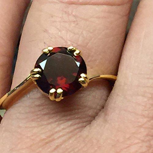 Natural 1.5ct Pyrope Garnet 14K Yellow Gold Vermeil Sterling Silver Ring ()