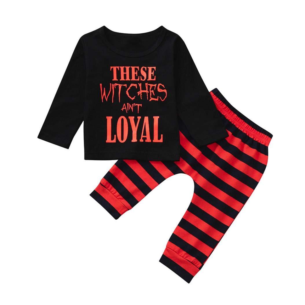 Kinlene-bambino Neonati maschi Lettera delle parti superiori delle magliette a righe Prin pantaloni vestiti di Halloween Set