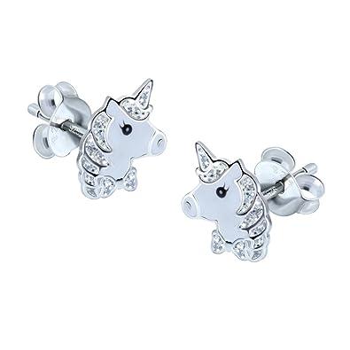 Sterling Silver Unicorn Earrings - Silver Sparkle HZzw3mZ