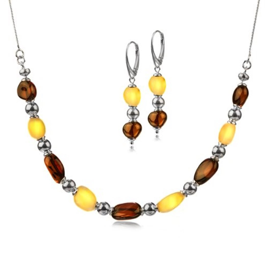 Sterling Silver Amber Dangle Leverback Earrings and Beads Necklace Set 17.5 Inches