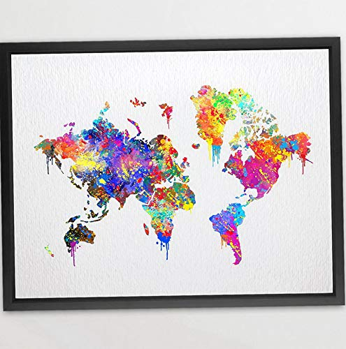 Kaputar 11X14 World Map Poster Watercolor Print Gift s Wall Art Watercolor Print Art Wall Hanging Gift N087 | Model WDDNG -395 | 11X14 inch