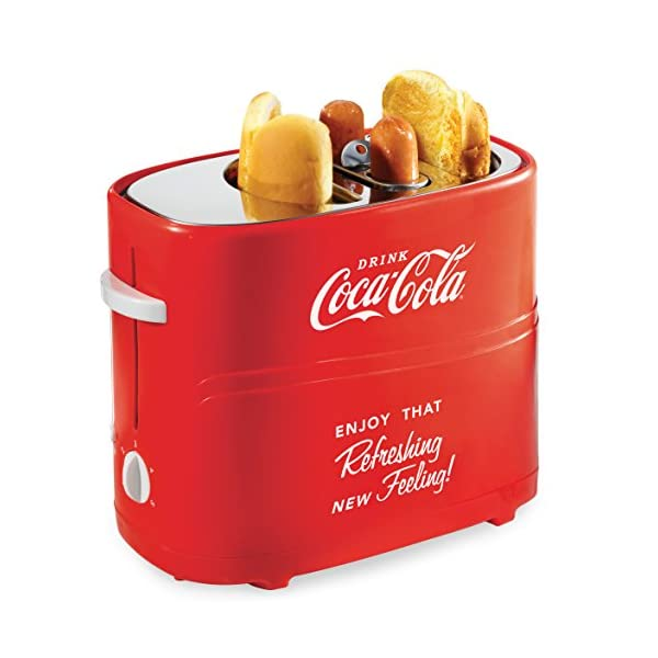 Nostalgia HDT600COKE Coca-Cola Pop-Up 2 Hot Dog and Bun Toaster, With Mini Tongs, Works With Chicken, Turkey, Veggie… 1