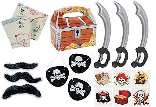 150 piece plus Pirate Party Favor Pack Toy bundle (Inflatable Swords, Tattoos, Mustaches, Eye Patches, Treasure chest Favor boxes, Maps) -