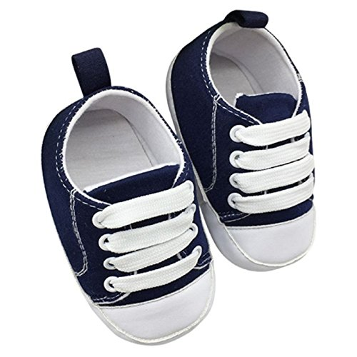 Allure Footwear (NEW! Sports Sneakers T-tied Infant Toddler Soft Soled Anti-slip Newborn Baby Canvas Crib Shoes (1, Navy))