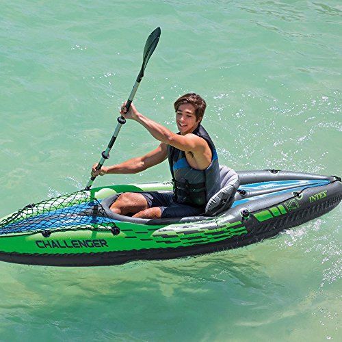 Intex Challenger K1 Kayak, 1-Person Inflatable Kayak Set with Aluminum Oars and High Output Air Pump by Intex (Image #3)