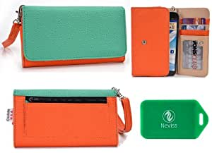 *MeTRo SeRies* ladies two toned wallet phone case in Mint Green/Orange for*LG Optimus G Pro E985