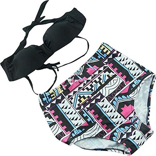 High Waisted Bikini Push up Padded Geometric Patterns Swimwear Swimsuit, XXL Avenue Print Bikini