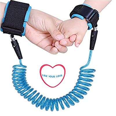 Baby Anti Lost Wrist Link 98 inch Toddlers Safety Harness Leash Child Tether Hook Loop Band Kids Straps Rope for Children Babies with Parents by Elekmall