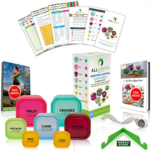 21 Day (BLACK LABELED) 7 Piece Portion Control Containers Colored Set Meal Prep Kit for Diet Weight Loss + 21 Days Planner + 2 FREE E-Books + User Guide + Measuring Tape + Mobile Stand