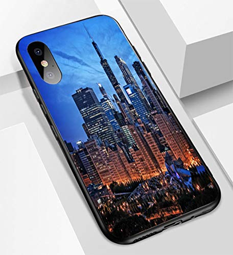 Chicago Millenium Park - iPhone X/XS Ultra-Thin Glass Back Phone case,Chicago lakefront Skyline Cityscape at Night by Millenium Park with a Dramatic Cloudy Sky Soft and Easy to Protect The Protective case