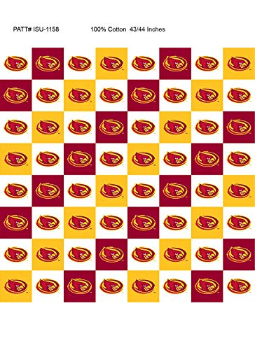 Iowa State Cotton Fabric with New Mini Check Design-Newest Pattern-NCAA Cotton Fabric