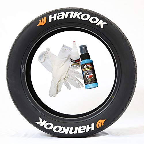 Tire Stickers Hankook with Orange Logo - DIY Permanent Rubber Tire Lettering Kit with Glue & 2oz Touch-Up Cleaner / 17-18 Inch Wheels / 1.25 Inches/White / 8 Pack ()