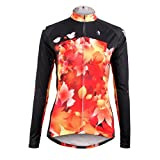 KMFEEL Autumn Red Maple Leaf Invisible Zipper Women Long Sleeve Cycling Clothes Jersey