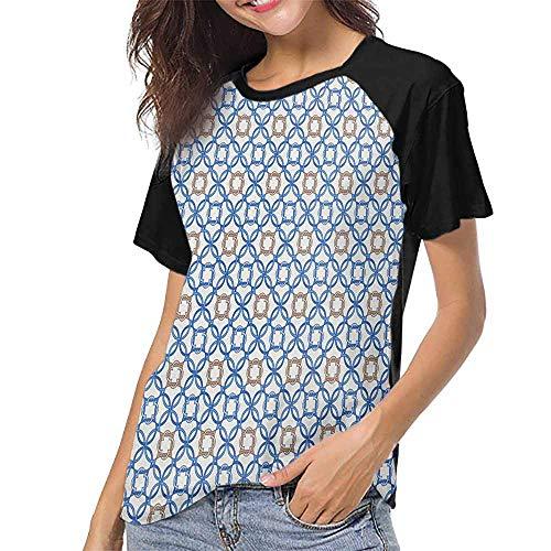 familytaste Quatrefoil,Print Round Neck Short Sleeve S-XXL(This is for Size Medium) Ancient Delft Blue Inspired Pattern Intricate Old Dutch Tile Motifs,Baseball Women Short -