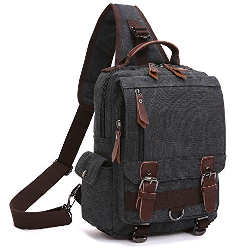 - Unisex Lightweight Multi Pockets Canvas Small Day Bag School Backpack Vintage Travel Hiking Rucksack for Men/Women Daypack