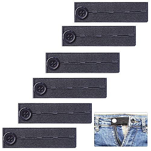 AXEN 6 pieces Elastic Waist Extenders, Adjustable Wasitband Expanders, Button Extender for Pants Jeans Trousers, Pack of 6 Black