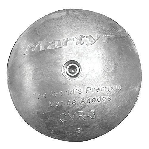 Martyr CMR02M, Rudder / Trim Tab Disc Anode, Stainless Steel Allen Head, Magnesium, 1/2 L x 2-13/18 OD x 0.28 ID