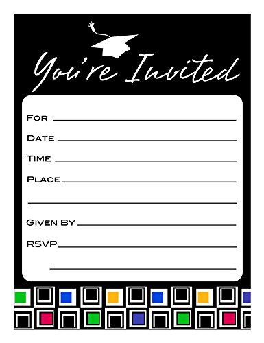 Creative Converting 25 Count Mod Grad Invitation Cards (Mod Invite)