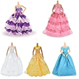 Buytra 5 Pack Doll Accessories Handmade Fashion Party Gown Wedding Dresses & Clothes for Barbie Doll Girl's Birthday Gifts Christmas Present