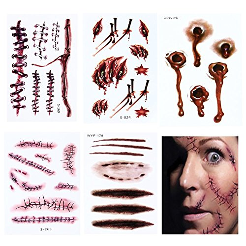 Halloween Zombie Wound Tattoos Waterproof Body Scar Temporary Stickers Horror Realistic Fake Bloody Bleeding Wound Sticker for Cos Play Party Halloween Costume Makeup(5 Pcs) by Mingshop -