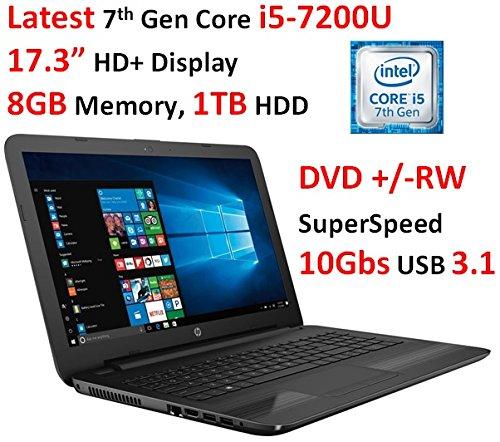 2017 HP High Performance 17.3? HD+ Display Laptop, Latest Intel Core i5-7200U Processor (up to 3.2GHz), 8GB DDR4 RAM, 1TB HDD, DVD +/-RW, Wi-Fi, HDMI, Webcam, USB 3.1, Windows 10 (Laptop Processor I5)