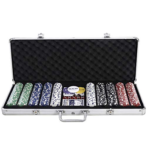 (HUASHENGXU New Portable 500 Chips Poker Dice Chip Set Texas Hold'em Cards Aluminum Case)