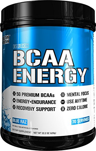 Benefits Branch Chain Amino Acids - Evlution Nutrition BCAA Energy - High Performance, Energizing Amino Acid Supplement for Muscle Building, Recovery, and Endurance (70 Servings) Blue Raz