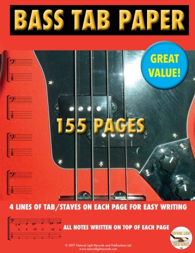 Bass TAB Paper: Best TAB Easy Write (Marc Ongley Guitar Series) (Volume 10) Bass Tab Paper