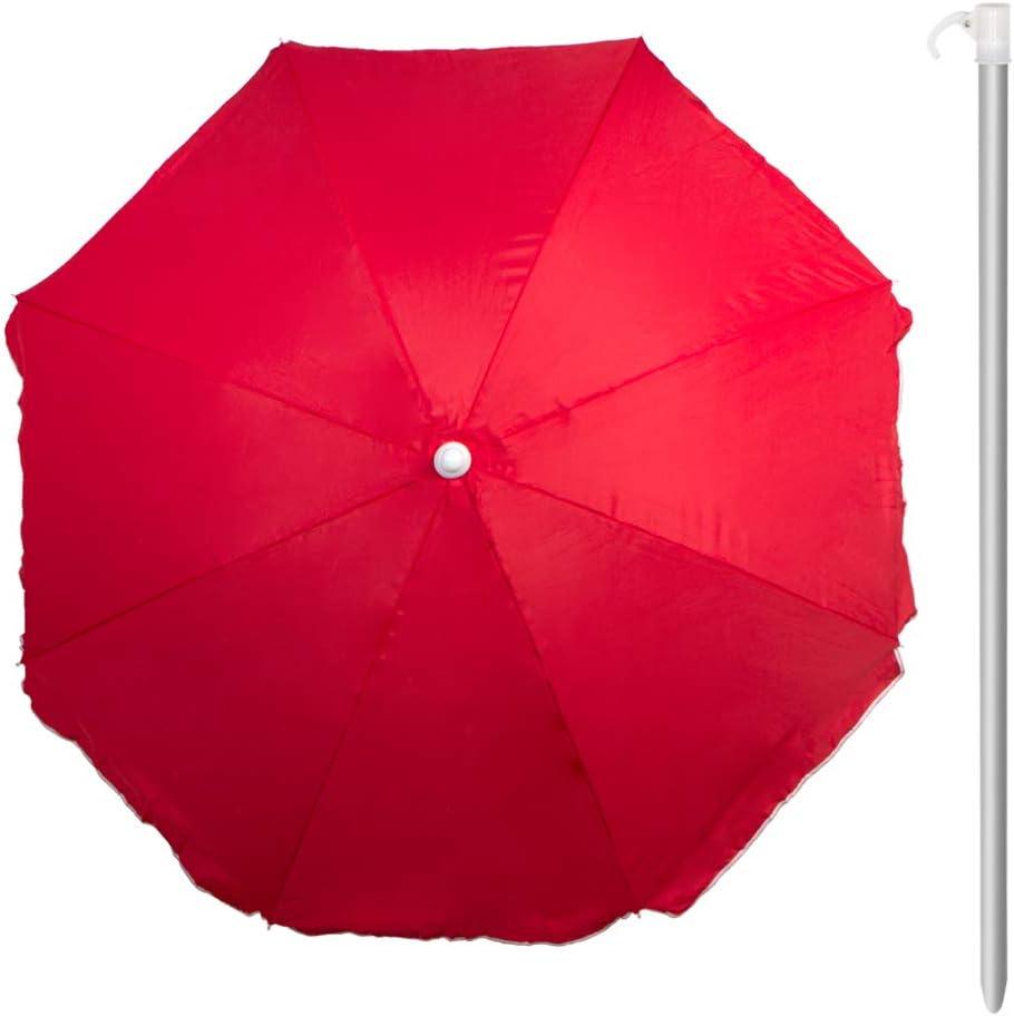Aktive 53846 Sombrilla 240 cm Beach con protección UV, Rojo