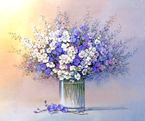 Amazon Violet And White Flowers In A Vase Print Of Watercolor