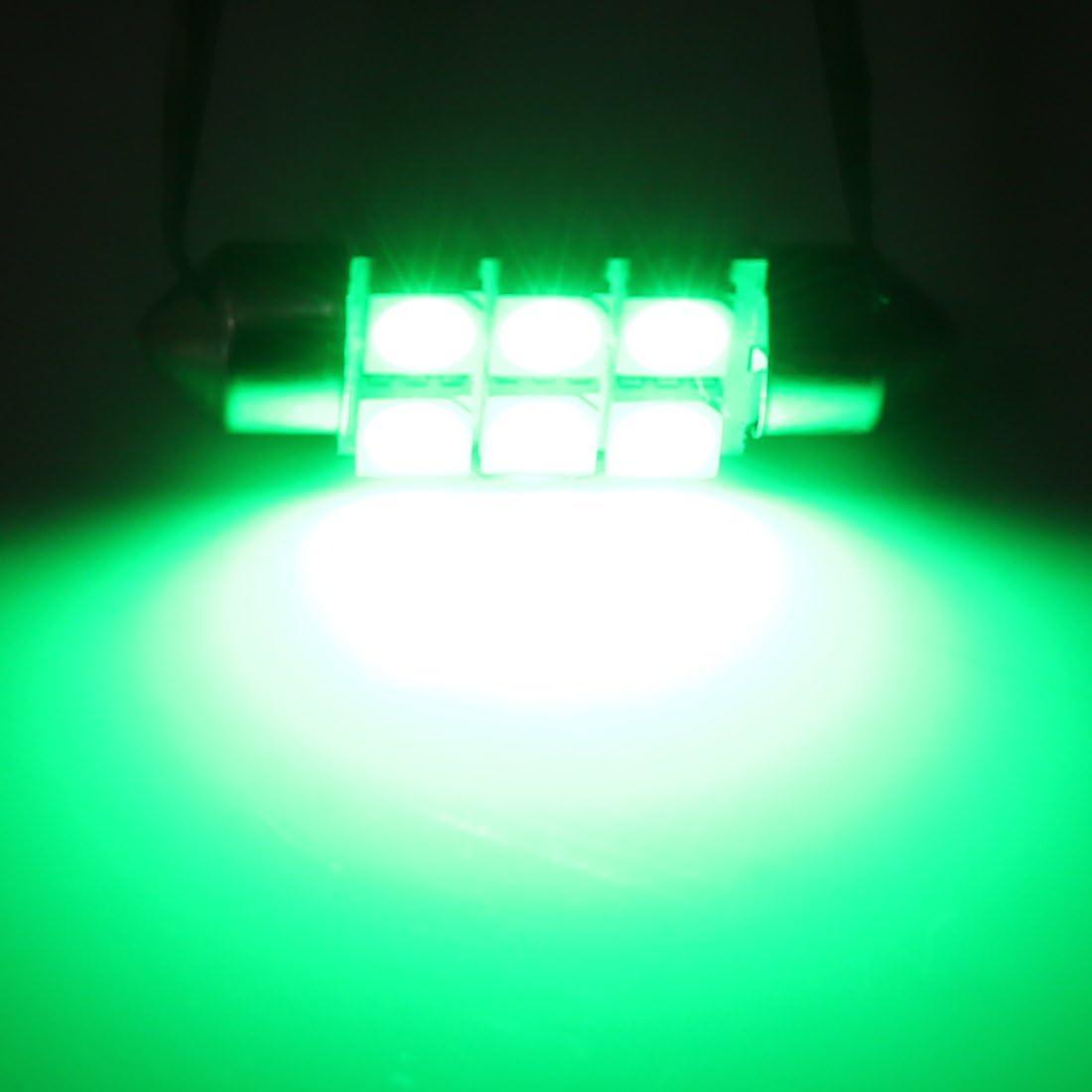 Sourcingmap 2 Pcs Green 36mm 5050 SMD 6 LED 0.9W Festoon Dome Car Light Interior Lamp Bulb