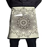 Guiping Arabesque Mandala Ritual Symbol Universe Unity Of Life Shabby Chic Ethnic Motif Decorative Kitchen Apron With Pockets For Men And Women