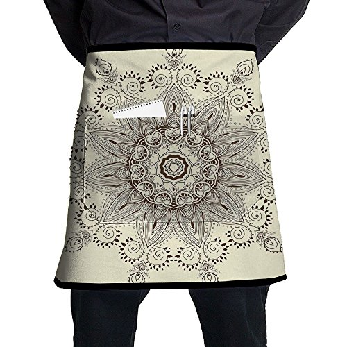 Guiping Arabesque Mandala Ritual Symbol Universe Unity Of Life Shabby Chic Ethnic Motif Decorative Kitchen Apron With Pockets For Men And Women by Guiping