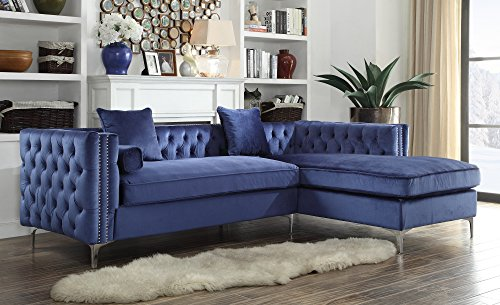 Iconic Home Da Vinci Tufted Silver Trim Navy Blue Velvet Right Facing Sectional Sofa with Silver Tone Metal Y-Legs by Iconic Home