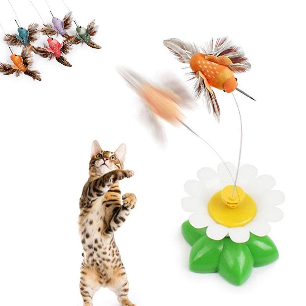 A 2PCS A 2PCS Kitten Cat Electric Swivel Seat Birdie Interactive Toys Tease Cat Bird Toy Fun Funny AAA Batteries Required