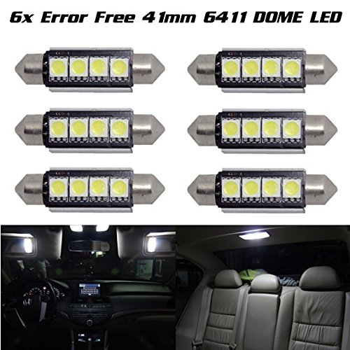 Partsam 6x Ultra White 42mm Festoon LED Bulbs Error Free 212-2 211 578 Car Interior Light Dome Map Courtesy Lamps 12V