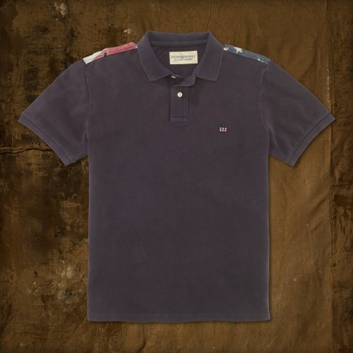 (Denim and Supply Ralph Lauren Destroyed Flag Polo Shirt (Small, Classic Navy))