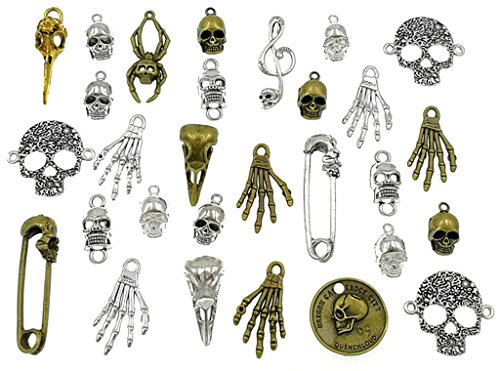 (100 Grams Assorted(Color&Style) Skull Skeleton Bone Punk Steampunk Charm Pendant Connector for DIY Necklace Bracelet Jewelry Making Findings)