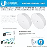PowerBeam AC ISO Gen2 PBE-5AC-ISO-Gen2-US 5GHz airMAX ac Bridge with RF Isolated Reflector 450 Mbps (2 PACK)