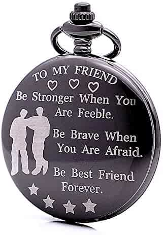 Engraved Pocket Watch Personality Gift Idea to My Friend Be Best Friend Forever Mens Boys Quartz Watch